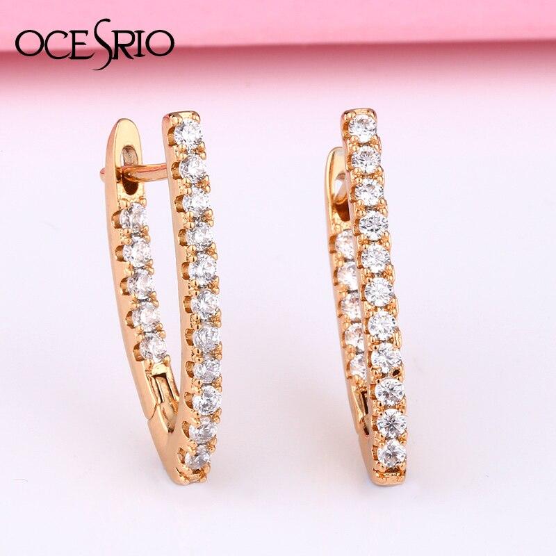 OCESRIO Fashion Rose Gold Luxury  Simple V shape Earrings With Stone Zircon Dangle Earrings Women  новинки 2020 серьги ers-s42