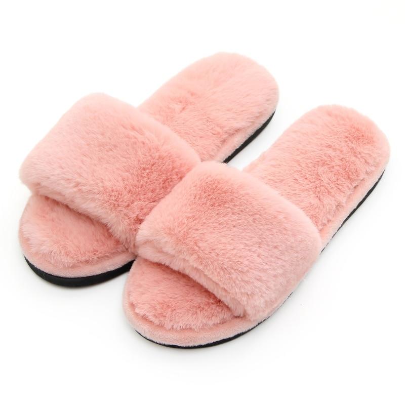 Piel de mujer mullida peluda zapatilla difusa Flip Flop abierto dedo del pie de peluche acogedor casa sandalia suave invierno plano Anti- zapatos de Interior para Spa