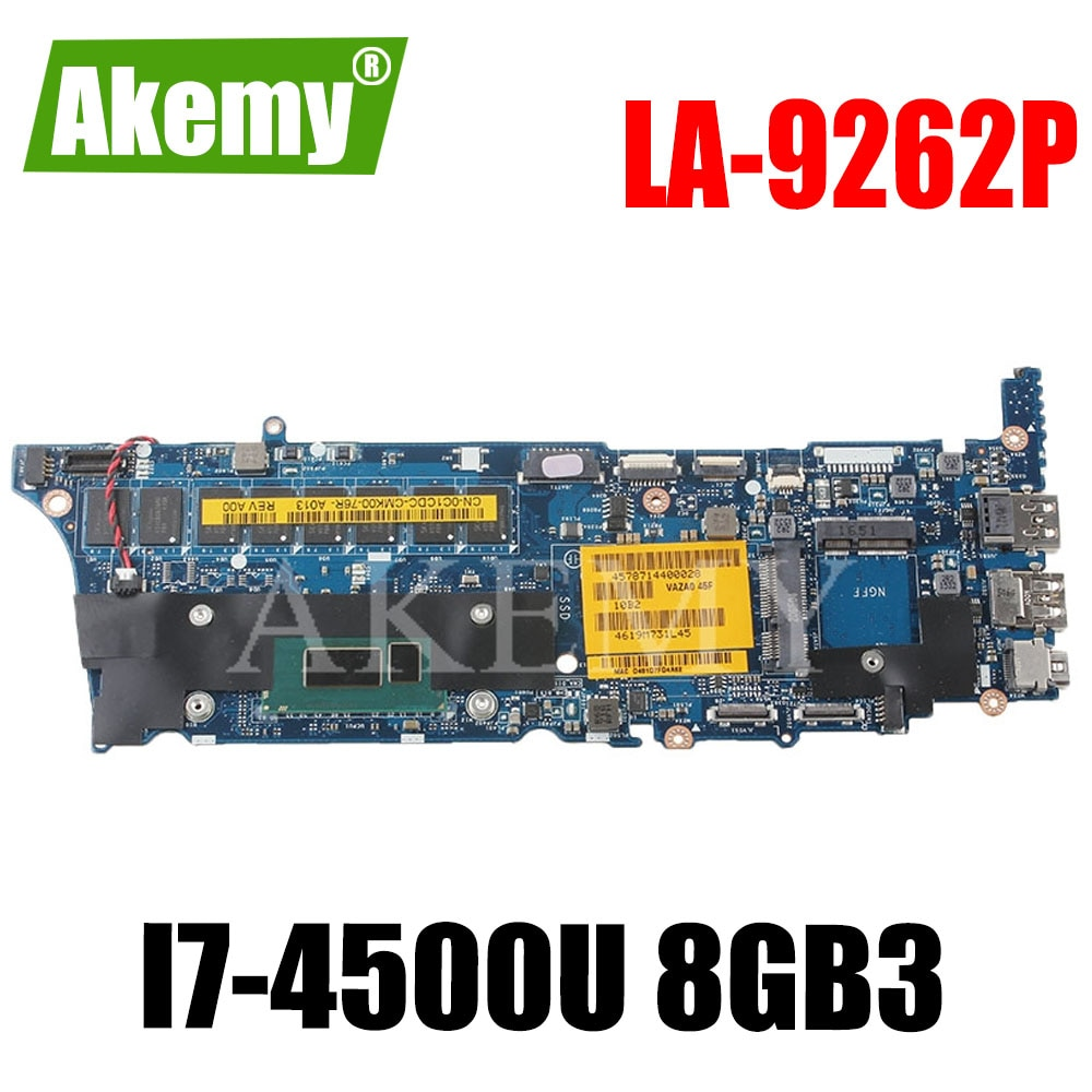 LA-9262P placa base para DELL XPS 12 9Q33 placa base VAZA0 LA-9262P REV 1,0 placa base I7-4500U 8GB RAM prueba 100%