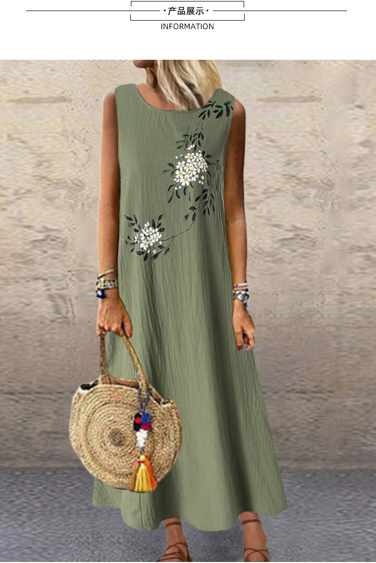 Sundress Women Summer Dress 2020 Printing Sexy Dress Midi Plus Size Casual Linen Loose Sleeveless printed Long Maxi Dress