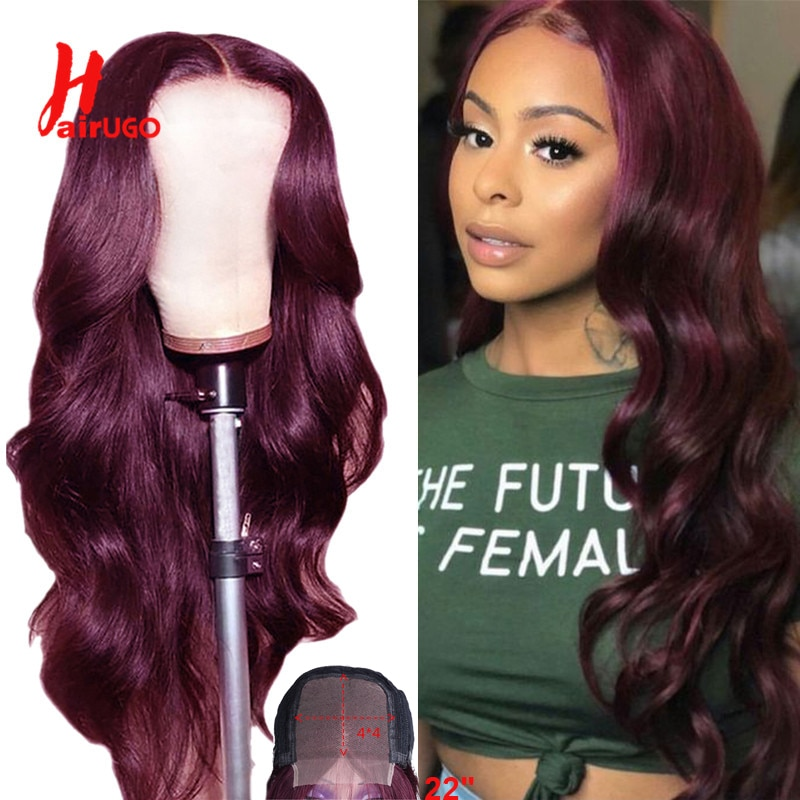 Ombre Red Body Wave 4x4 Lace Closure Human Hair Wig Pre-plucked Malaysian Remy Burgundy Blonde Wigs
