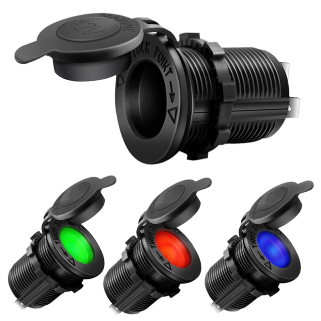 12V Car Cigarette Lighter Socket Waterproof Auto Boat Motorcycle Tractor Power Outlet Socket Receptacle Car Accessories Black