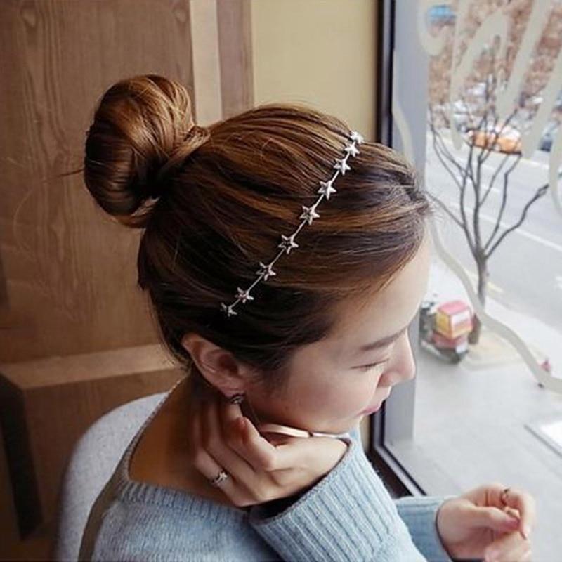 Geometric Pentagram Star Headband Women Gold Silver Metal Pentagram Star Hairbands Thin Elegant New Fashion Hair Accessories Hot