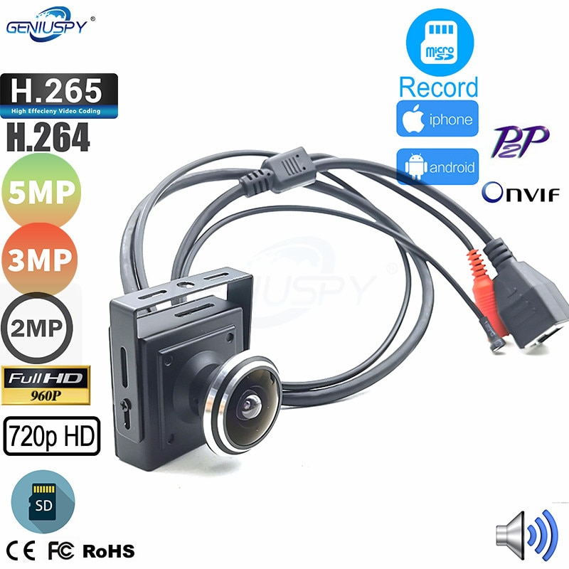 Mini cámara IP de ojo de pez 720P 960P 1080P HD 3MP 5MP cámara de seguridad Camhi CCTV cámara de vigilancia Micro SD tarjeta de grabación PC navegador