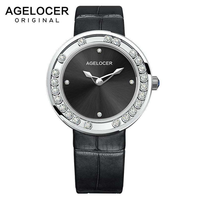 AGELOCER ساعات نسائية موضة فاخرة أفضل العلامة التجارية الماس الأسود المرأة ساعة اليد الياقوت السيدات عادية ساعة كوارتز ساعة جديد