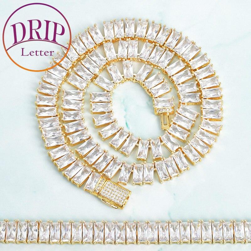 9mm Square Necklace Set For Women Gold Color Cubic Zircon Bracelet Hip Hop Fashion Rock Jewelry