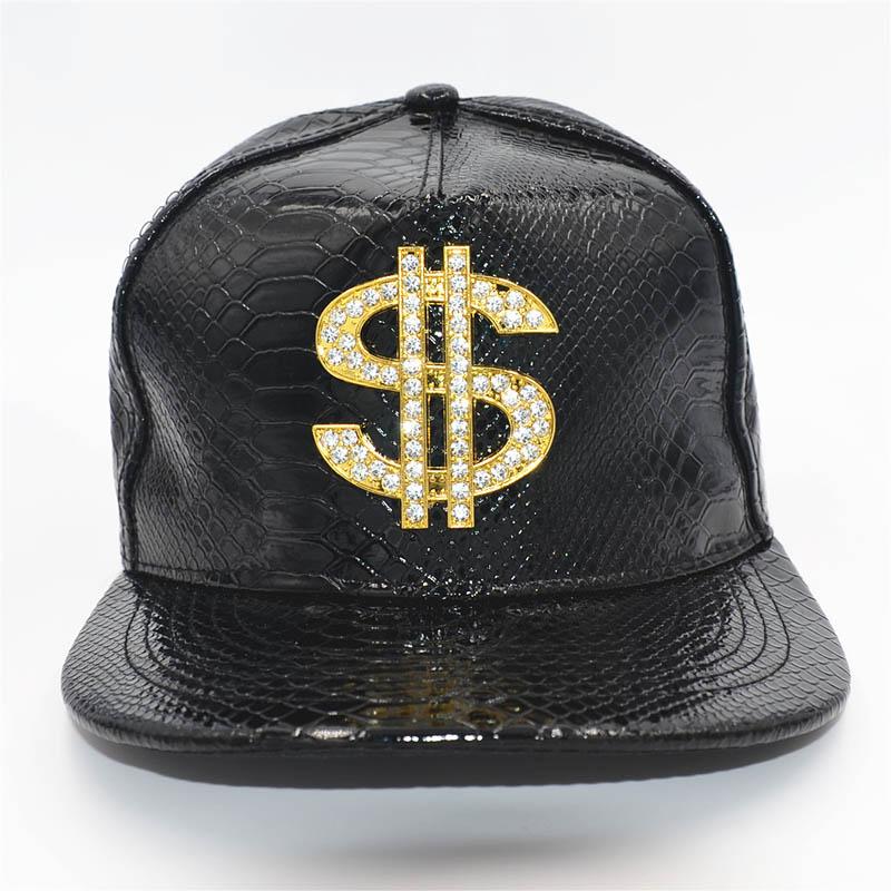 Doitbest 금속 황금 달러 스타일 망 야구 모자 hiphop 모자 가죽 조정 가능한 snapback 모자 남성 여성을위한