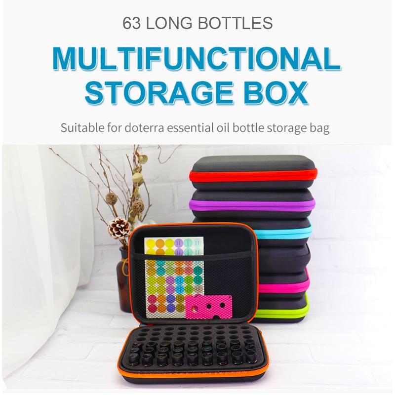 Essential Oil Case 63 Bottles 1-3ML Perfume Oil Essential Oil Box Travel Portable Carrying Holder Nail Polish Storage Bag недорого