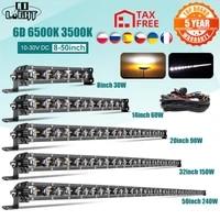 co light 814202632384450inch offroad led light bar spot flood combo strobe led work light 12v24v for car suv atv fog lamp