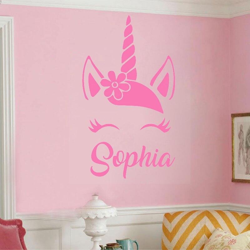 Personalizado unicornio nombre pared pegatinas de vinilo artísticas calcomanía dibujos animados dormitorio decoración niños chica habitación cuarto Mural Y232