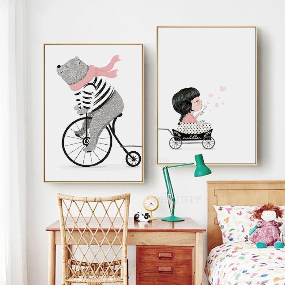 Постер в скандинавском стиле, постеры и принты медведя, настенное искусство, Картина на холсте и принты для комнаты кидс, домашний декор, нер...