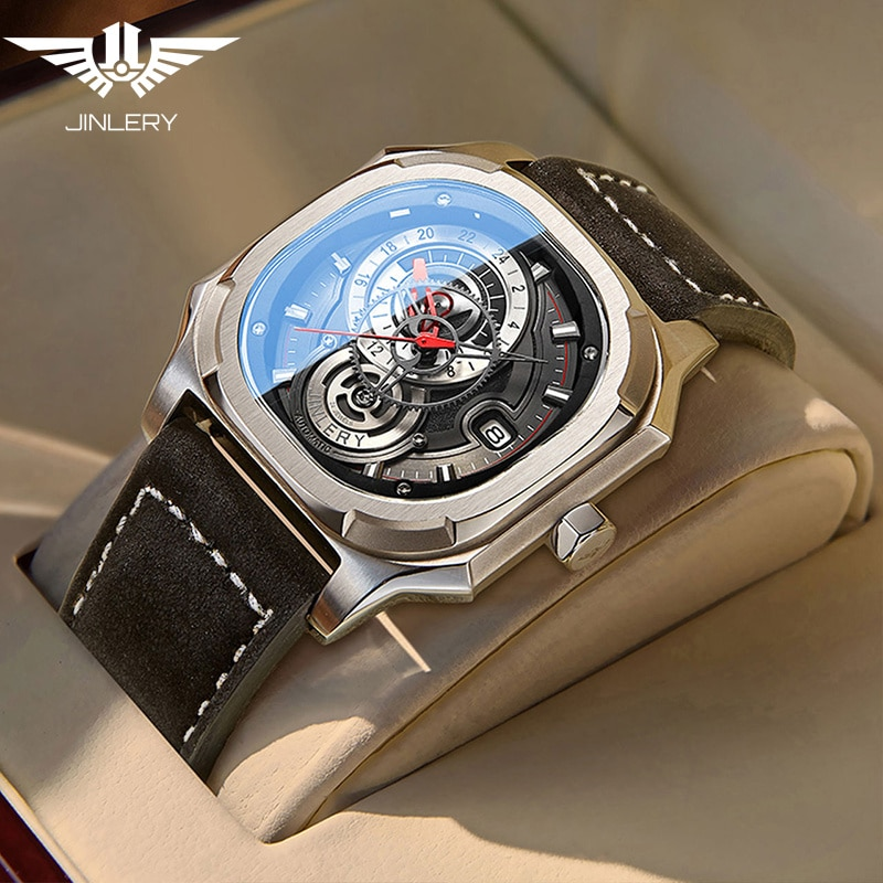 JINLERY Brand Richard Square Watch Men's Mechanical Watch Automatic Waterproof Top Ten Sports Men's