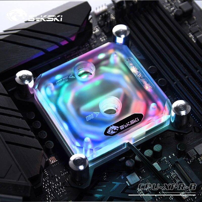 وحدة معالجة مركزية من Bykski طراز LGA1150 طراز 1151 1155 1156 2011 X99 يدعم RGB شفافًا 5 فولت رأس GND 3PIN إلى اللوحة الأم