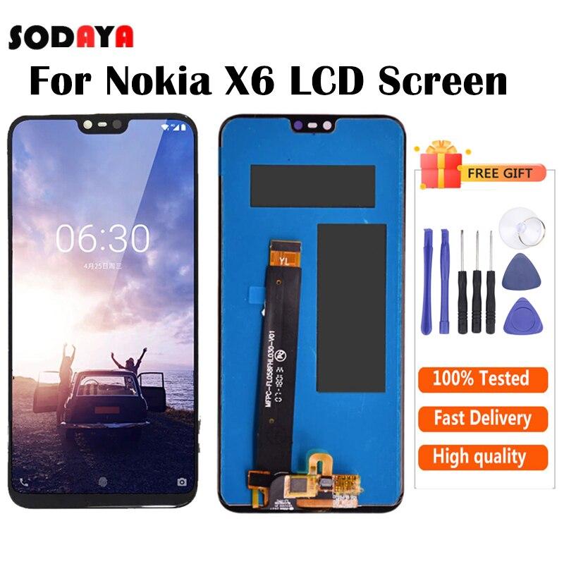 Оригинальный ЖК-экран для Nokia X6, дигитайзер сенсорного экрана для Nokia 6,1 Plus, Замена ЖК-дисплея