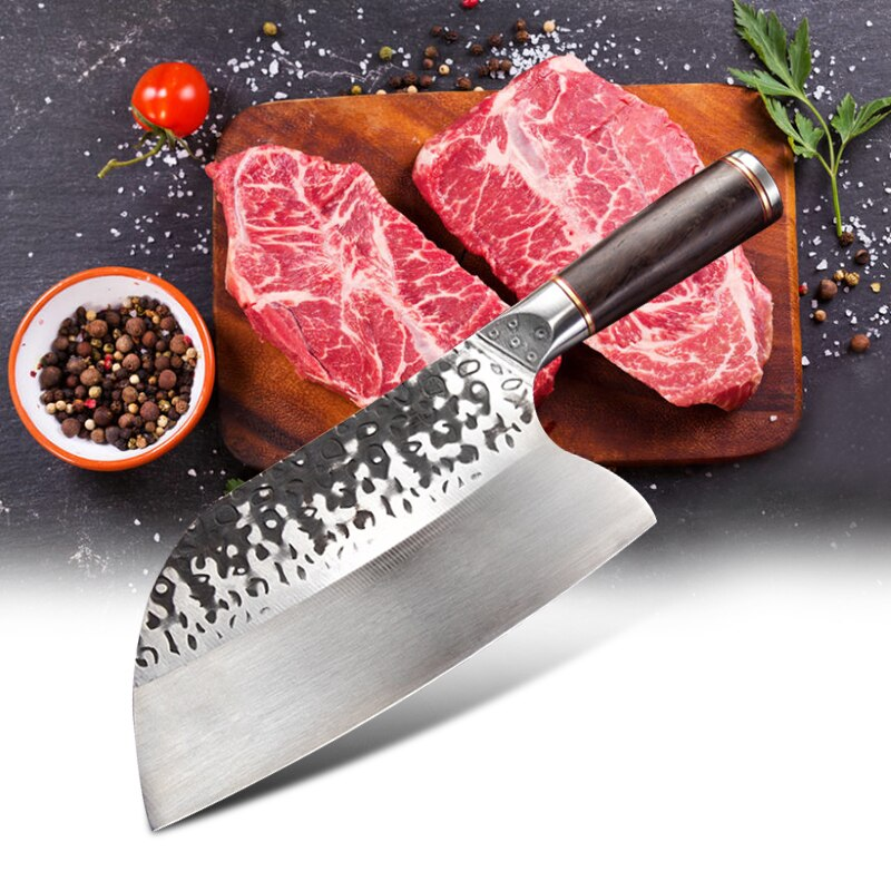 سكين الشيف الصيني المصنوع يدويًا من الفولاذ المقاوم للصدأ ، لتقطيع اللحوم والخضروات ، وسكين مطبخ بغطاء عالي الكربون 5CR15