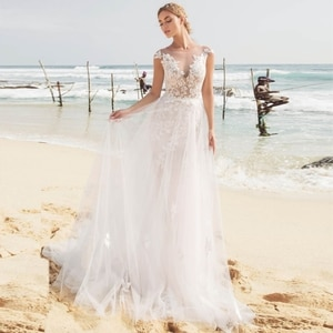 Summer Beach Lace Cap Sleeves Bridal Wedding Gowns Illusion Jewel Neck Appliqued Wedding Dress for Bride with Detachable Skirt
