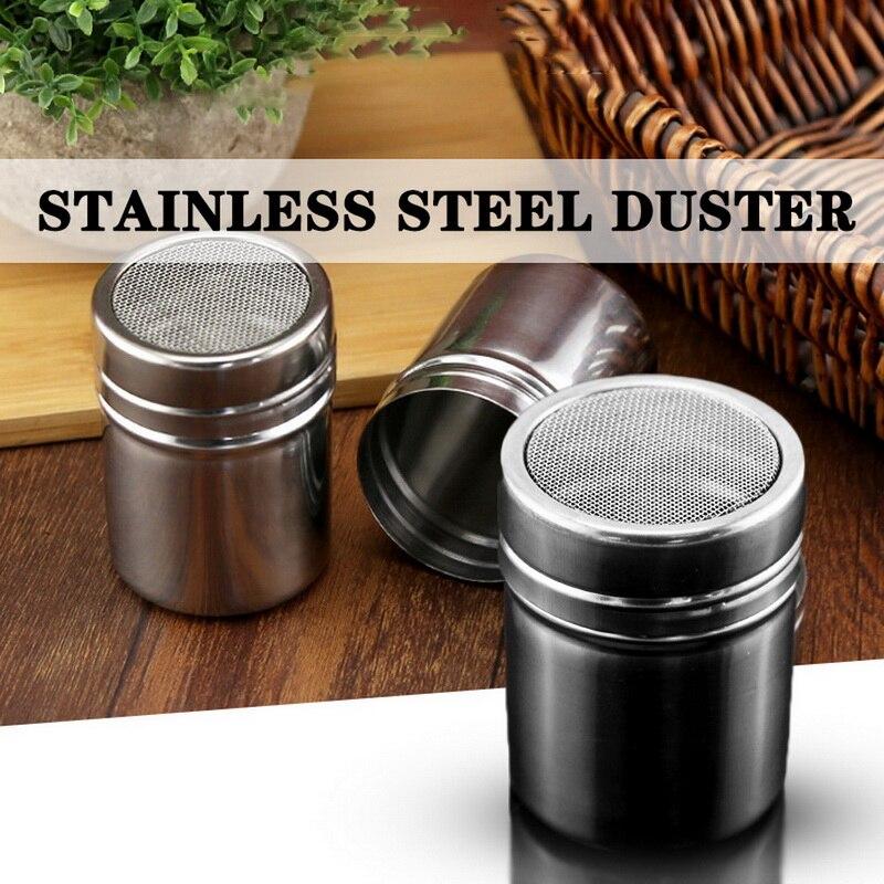 1Pc New Stainless Steel Sprinkle Cocoa Cinnamon Sugar Gauze Mesh Jar Seasoning Bottle Fancy Coffee Powder Duster Top