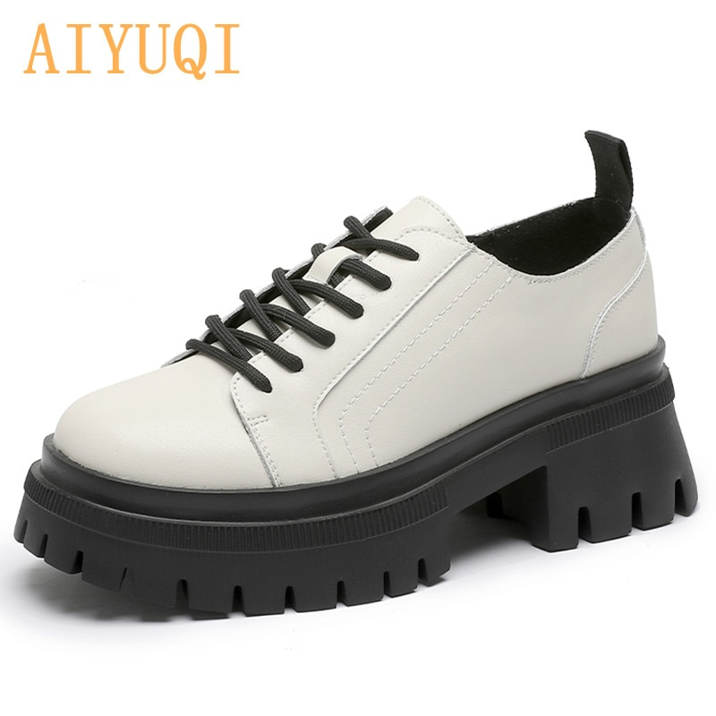 AIYUQI Loafers Women Genuine Leather 2021 New Thick-soled Casual Women Shoes British Style White Lac