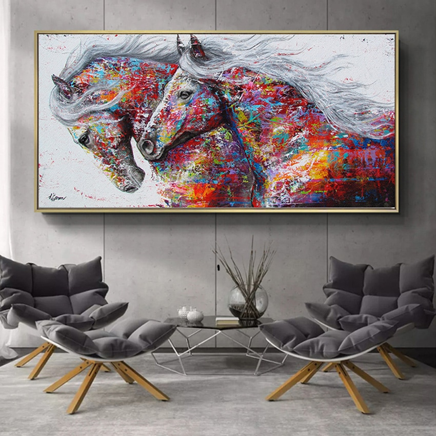 Póster e impresiones para arte de pared abstracto de animales, pintura al óleo de caballos corriendo sobre lienzo, imágenes HD hechas a mano para decoración del hogar de Arte Moderno