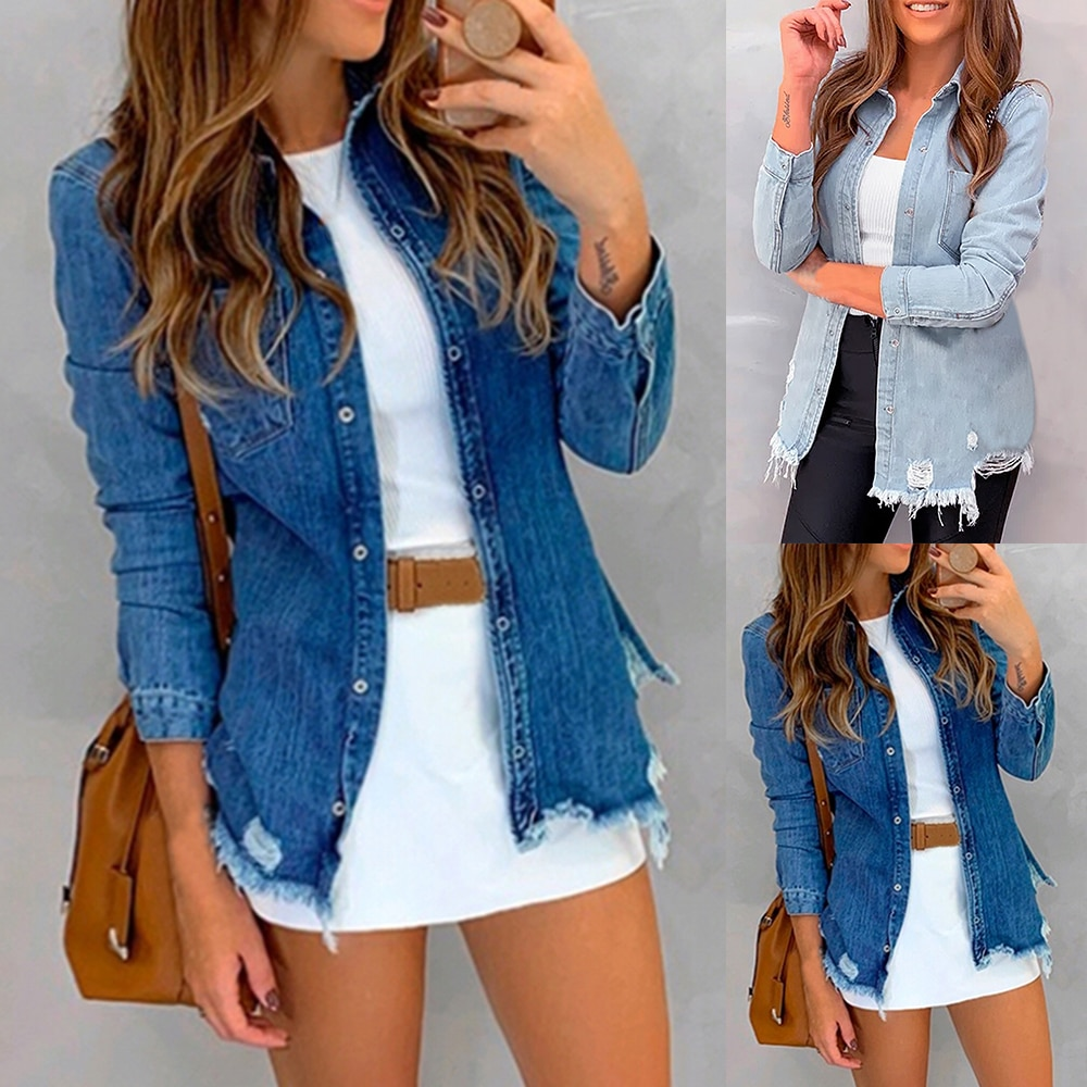 2019 otoño nueva mujer botón abajo camisa de mezclilla manga larga Turn Down Collar chaqueta de Jean delgada mujer Jaqueta rasgado abrigo prendas