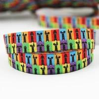 16mm houd printed fold over elastic ribbon diy handmade hair accessories material sewing ties hair accessories 100 yards