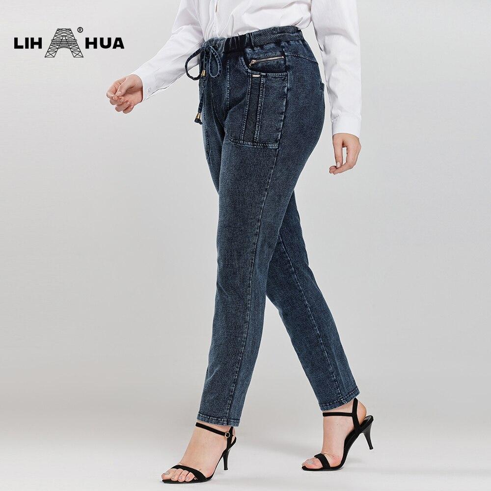 LIH HUA Women's Plus Size Casual Jeans high flexibility