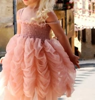 cute summer girls pink tutu bubble party dress kids clothes girl sleeveless petal decoration party clothes for chlidren