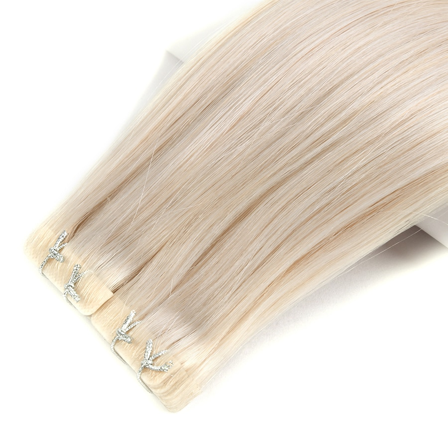 Neitsi Natural Straight PU Skin Weft Adhesives Hair Extensions 22 55cm Blonde Color 3*0.9cm Hand Tied Tape In Remy Human