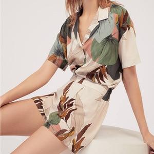 Женская пижама с принтом, пижамный комплект с коротким рукавом и принтом листьев, женская Свободная Повседневная стильная свободная пижама...
