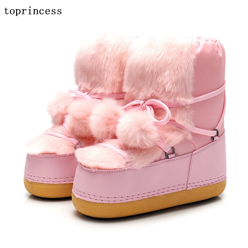 XY04 TOPRINCESS Pink Pompon Moon Boots For Women And Kids Platform Waterproof Fashion Winter Shoes Flexible Wome Casual Boots