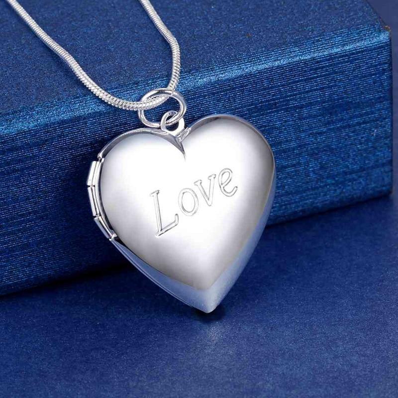 Лидер-продаж-Новинка-925-Серебряное-ожерелье-18-дюймов-сердце-кулон-фоторамка-для-женщин-модные-ювелирные-изделия-свадебные-вечерние-пода