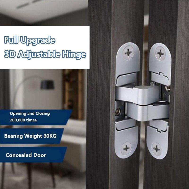 Dobradiças invisíveis tridimensionais da porta de madeira que dobram as portas cegas cruzam 180 ° dentro e fora das dobradiças escondidas abertas