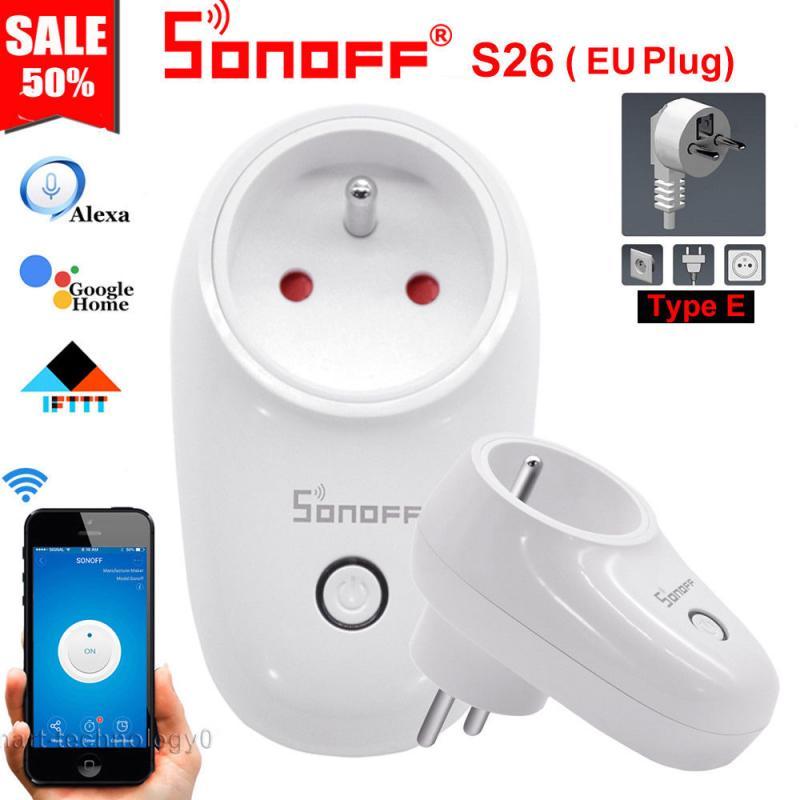 Sonoff S26 WiFi Smart Plug EU US UK AU CN Automation Smart Home Remote Switch Compatible with eWelink Alexa Amazon Google Home