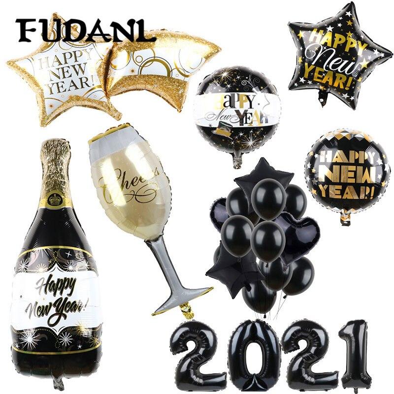 2021 feliz ano novo folha balões para casar decoração de festa de natal 18 polegada preto garrafa de hélio globos aniversário eve suprimentos