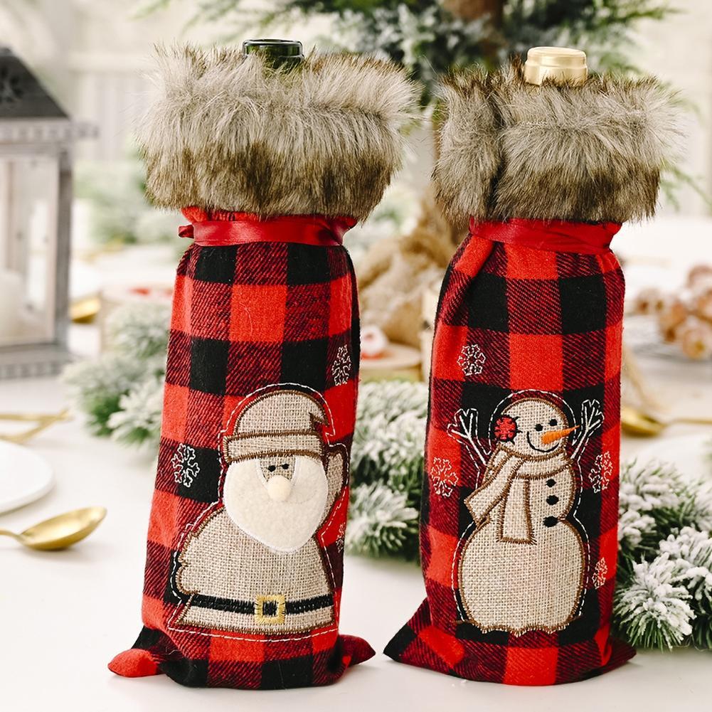 Plaid rojo Santa Claus botella de champán, vino cubierta de Navidad decoración...