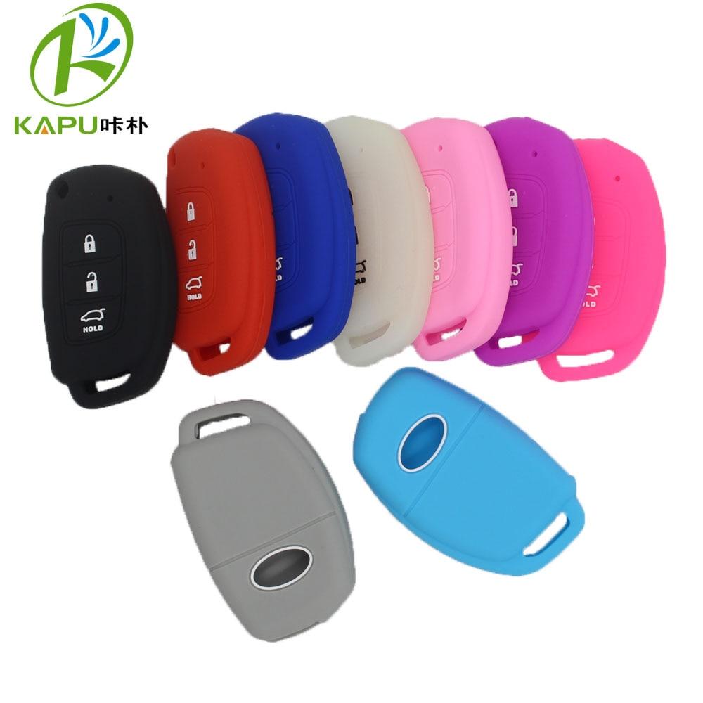KAPU cover car-key-case for Hyundai Creta I10 I20 TUCSON ELANTRA SANTA FE I40 silicone rubber cover case set accessories