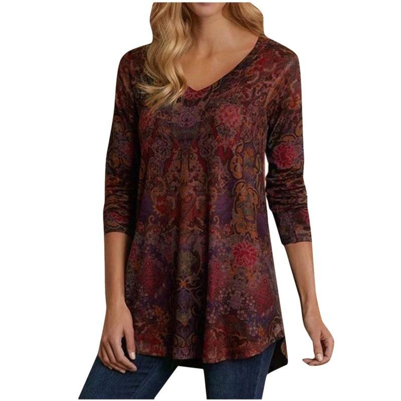 Tshirt Women Winter Fashion Printed V-neck Loose Long Sleeve Tops Haut Femme Camiseta Mujer Harajuku Top Women T Shirt Poleras