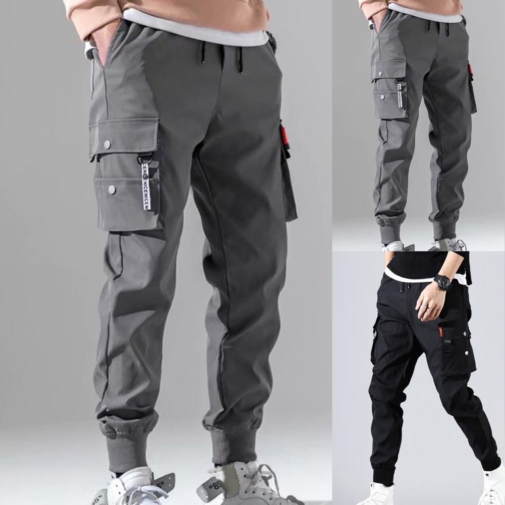 Джоггеры мужские в стиле хип-хоп, брюки-султанки, однотонные штаны-карго, облегающие брюки с несколькими карманами, осень 2021