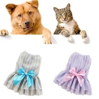 free stripes dog clothes pet dogs ca skirt small fresh spring summer thin skirt dog dress casual vertical butterfly pet skirt