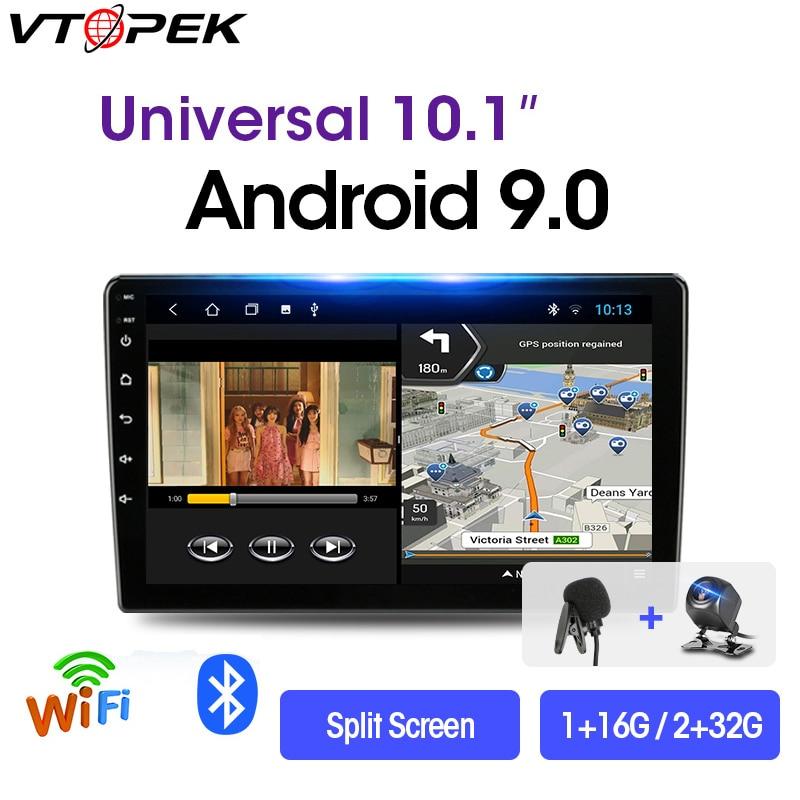 Vtopek 2 Din Android Car Stereo 2G+32G 9/10.1 Car Radio Multimedia Video Player Navigation GPS For Nissan Kia Honda VW 2din Dvd недорого