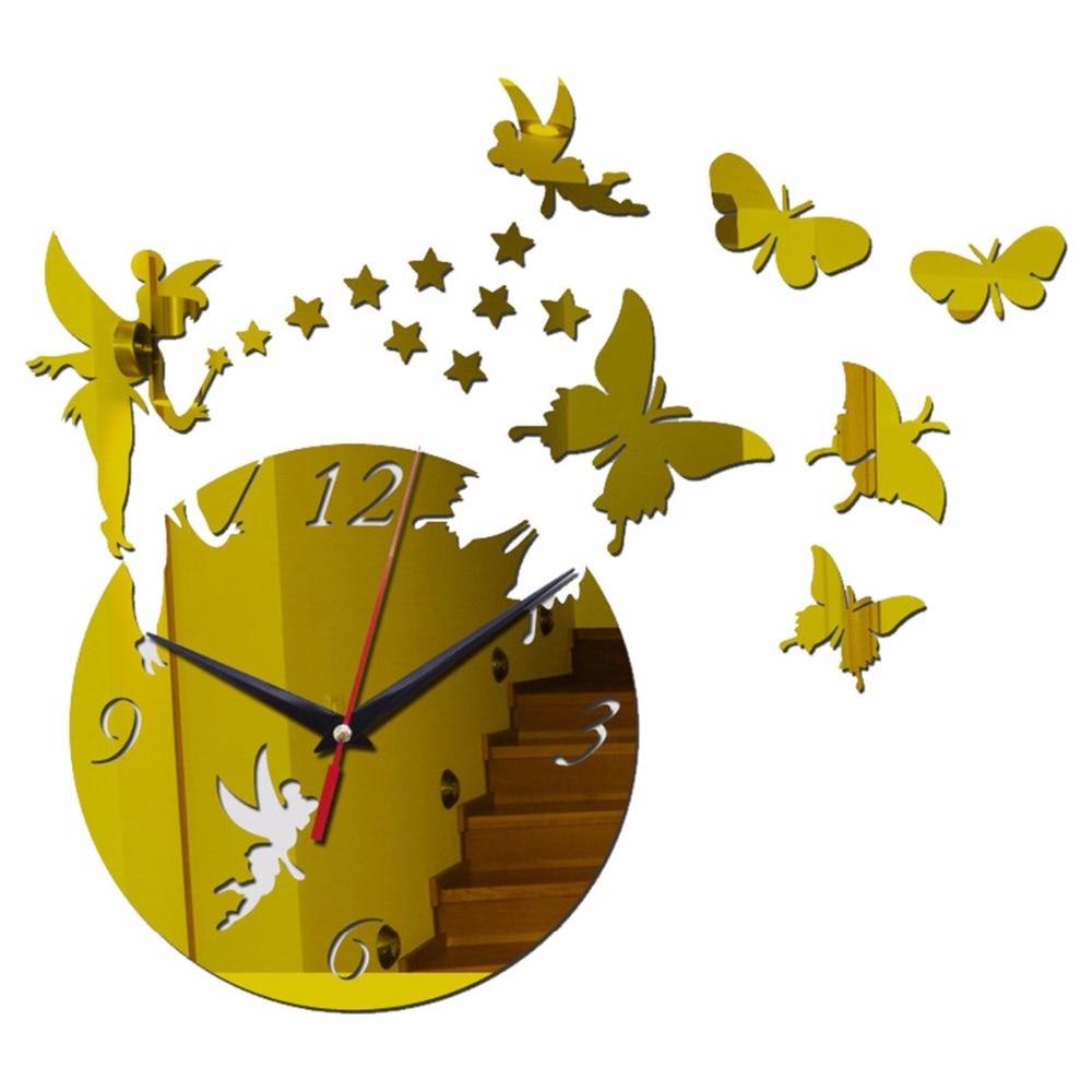 Creativa cafetera y taza, reloj grande de cuarzo con mariposa, espejo, decoración para el hogar, pegatina de relojes en plata, oro y negro para la sala de estar