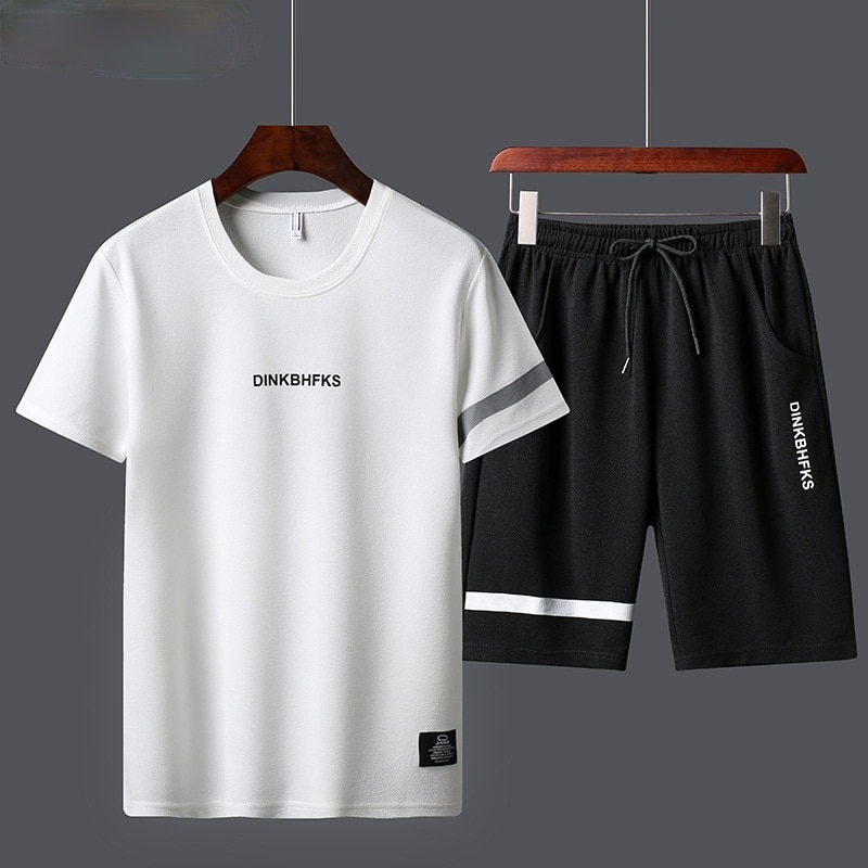 Fashion Mens Sportswear Solid Color Casual Sports Sets Men Summer 2021 O-neck Running Breathable Short Sleeve 2 Piece Suit Men