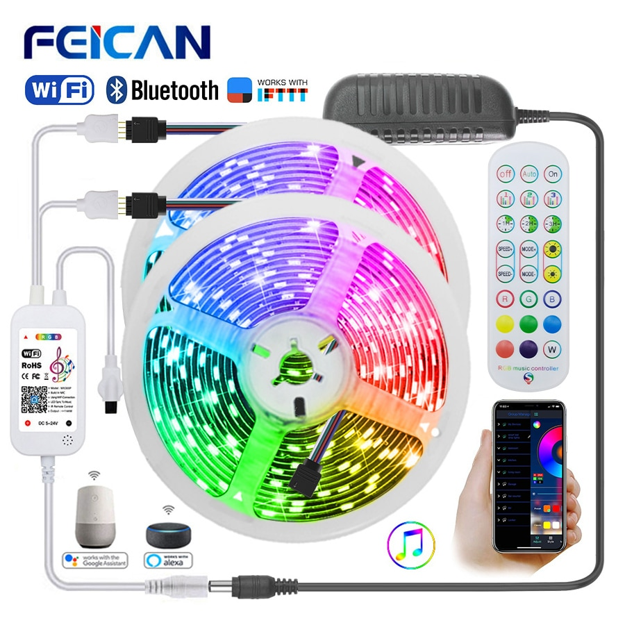 WiFi LED Strip 10M 20M 30M 2M 12V Light Waterproof RGB Tape Works with Alexa Neon Ribbon Flexible Lights for Room