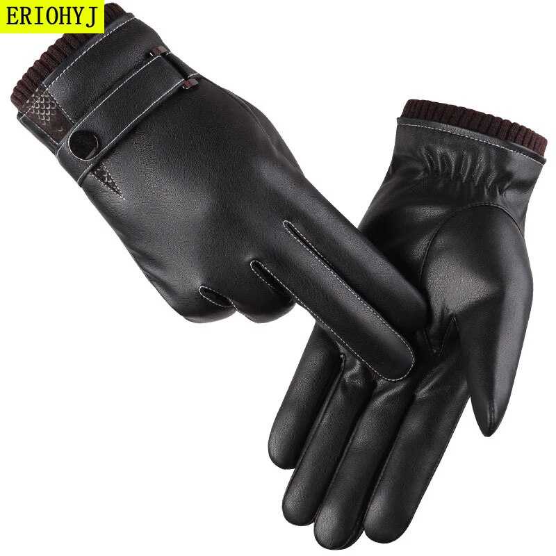 Men's Gloves Winter Mittens Keep Warm Touch Screen Windproof Driving Gloves 2020 Male Autumn Winter Guantes Black Leather Gloves gsg women winter leather gloves mittens knitted lined driving gloves handmade warm ladies fashion touch screen gloves black