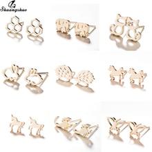 Shuangshuo Gold Earings Women Jewelry Cute Mini Cartoon Animal Stud Earrings for Girls Kids Fashion