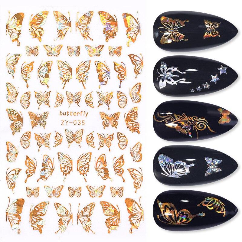 1 Pc 3D pegatinas de uñas de vaciamiento con láser manicura efecto pegatinas deslizadores geométrica flores uñas transferencia calcomanías