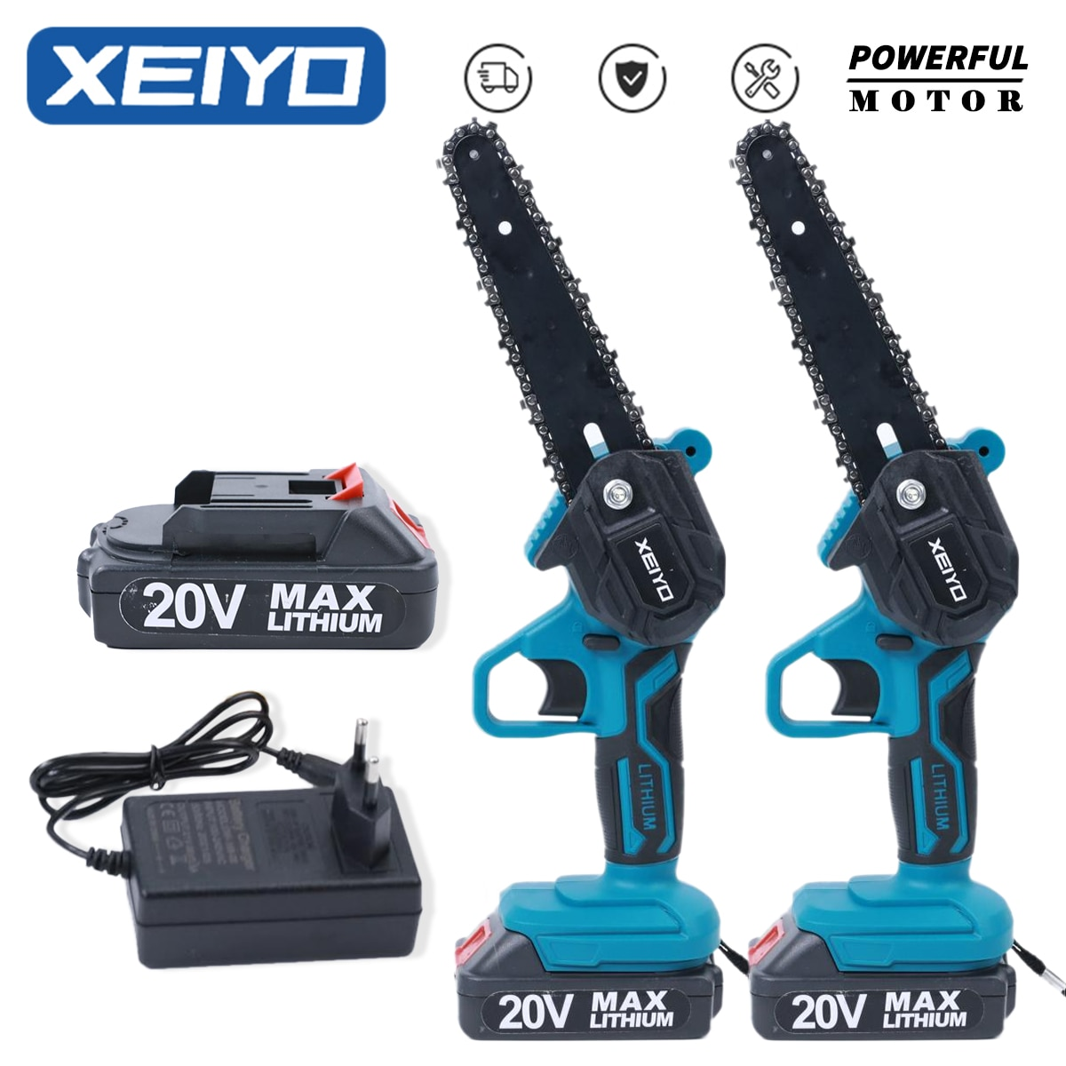 XEIYO 6 Inch Electric Chainsaw for Makita 18V Battery Rechargeable Mini Woodworking Wood Cutter Gard