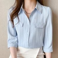 ljsxls 2021 summer slim blue chiffon womens shirt print striped loose turn down collar blouses female open stitch tops femme
