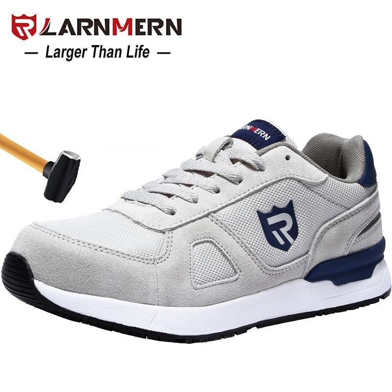 LARNMERN الرجال حذاء امن للعمل الصلب تو البناء حذاء رياضة تنفس خفيفة الوزن مكافحة تحطيم مكافحة ساكنة عدم الانزلاق حذاء