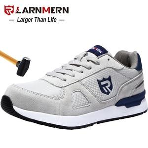 LARNMERN Men's Work Safety Shoes Steel Toe Construction Sneaker Breathable Lightweight Anti-smashing Anti-static Non-slip shoe